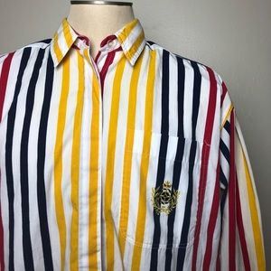 Tops - Vintage Navy Yellow Red Striped Button Down